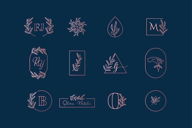 Oliwka, gałązka oliwna, liście, wieniec, zestaw logo laurowych
