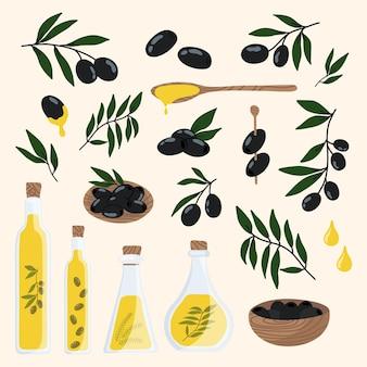Oliwka na białym tle zestaw zdrowej żywności ekologicznej