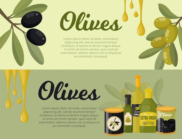 Oliwki zestaw bannerów ilustracja płaski. gałęzie drzewa oliwnego, liście, szklane butelki z dodatkiem oliwy z pierwszego tłoczenia, zielone i czarne oliwki w słoiku.