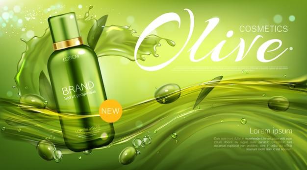 Oliwkowa butelka kosmetyków, naturalny produkt kosmetyczny, eko kosmetyczka unosząca się z jagodami i liśćmi. szablon transparentu promocyjnego szamponu lub balsamu