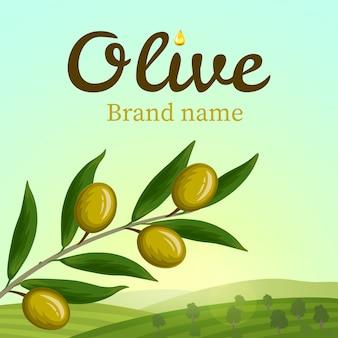 Oliwkowa etykieta, projektowanie logo. gałązka oliwna