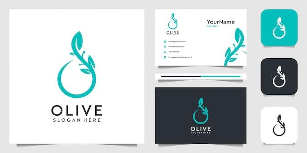 Oliwkowe logo w ekologicznym stylu. garnitur do dekoracji, spa, jogi, marki, biznesu, reklamy, firmy, oleju i wizytówki