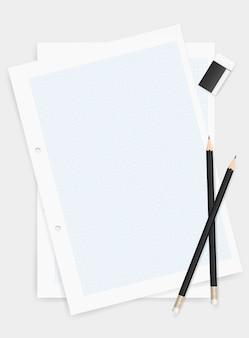 Ołówek i gumka na rysunkowym papierowym tle.