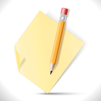 Ołówek i papier na białym tle