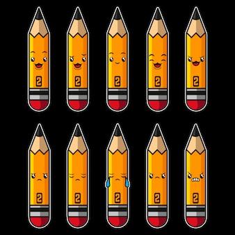 Ołówek kawaii postać z kreskówki