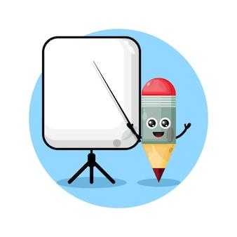 Ołówek staje się logo maskotki nauczyciela