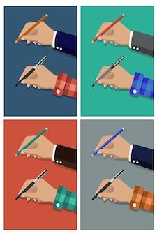 Ołówek w ręku zestaw ilustracji kreskówek.