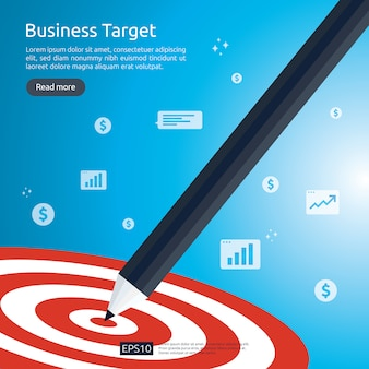 Ołówek wskazujący na środkowy cel tarczy. osiągnięcie strategii i sukces płaski. łucznictwo rzutki cel i strzała.