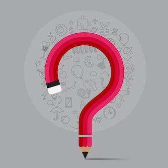Ołówek wygina kształt do postaci znaku zapytania z ikoną