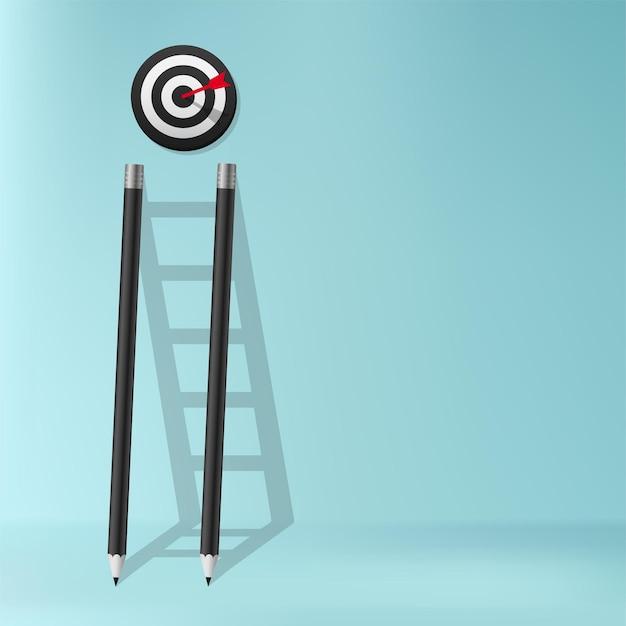Ołówek z drabiną cienia koncepcji sukcesu, schody wyzwania biznesowego, aby osiągnąć cel