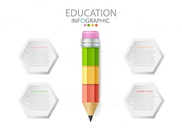 Ołówek z ikonami i tekstem, infografiki edukacji, przepływ pracy, proces