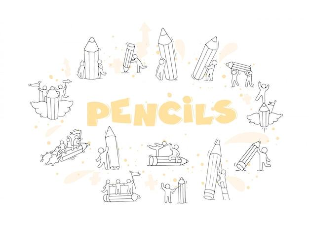 Ołówki ustawiający z pracującymi małymi ludźmi ilustracyjnymi