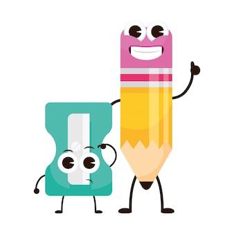 Ołówkowa szkoła i temperówka dostarcza ilustrację postaci kawaii