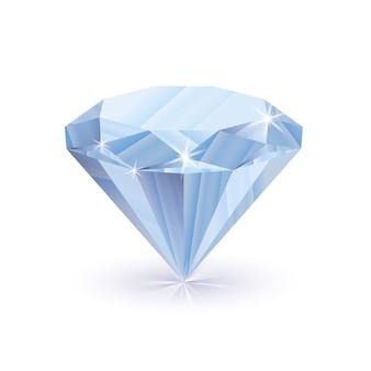 Olśniewający błyszczący diament z cieniem na białym tle