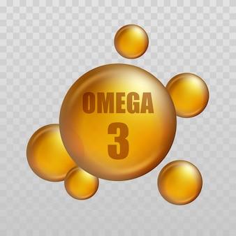 Omega 3. kropla witaminy, kapsułka oleju rybnego, złota esencja odżywianie organiczne