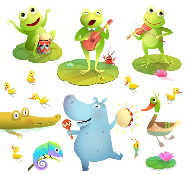Ond lub bagienne zwierzęta kolekcja clipartów żaby grające muzykę kaczka z pisklętami i tańczącym hipopotamem
