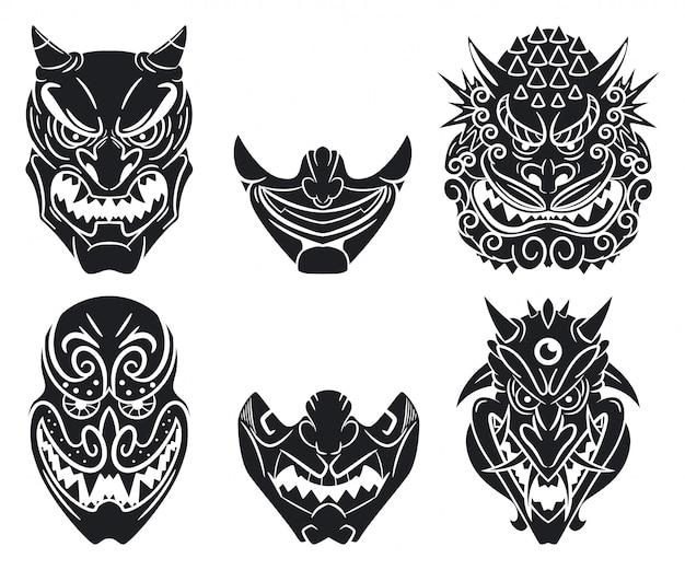 Oni i kabuki tradycyjne japońskie maski o twarzy demona. zestaw kreskówka na białym tle