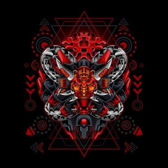 Oni mask demon cyborg style sacred geometry