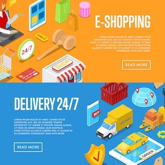 Online 24/7 zakupy izometryczny zestaw bannerów internetowych 3d