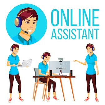 Online assistant asian woman
