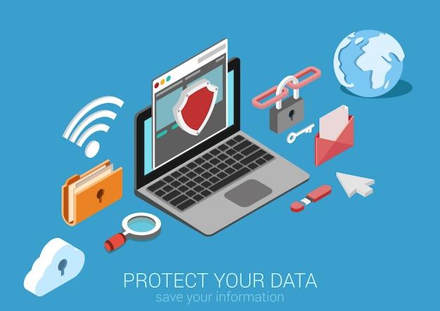 Online bezpieczeństwo danych ochrona bezpiecznego połączenia interneta bezpieczeństwa płaska izometryczna koncepcja