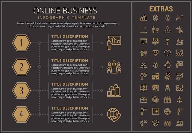 Online biznesowy infographic szablon i elementy