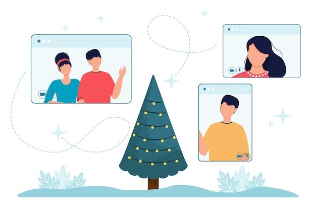 Online boże narodzenie celebracja ekranu telefonu ludzi i choinki. wektor ilustracja komputerowe ekrany telefonów z ludźmi. święta bożego narodzenia w internecie randki celebracja. zaproszenie do technologii internetowej