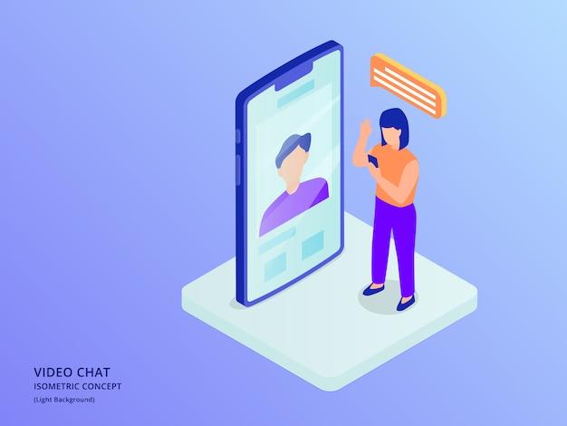 Online czat wideo z kobietą i mężczyzną z smartphone i ludźmi stojącymi z izometryczny