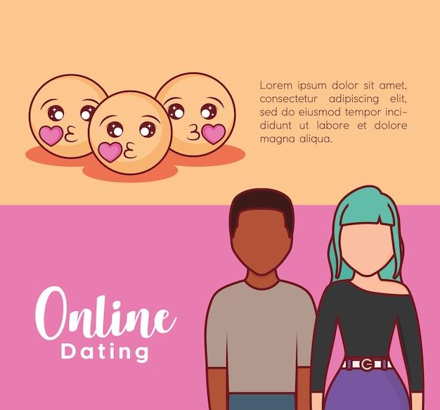 Online dating infographic z pocałunkiem emoji