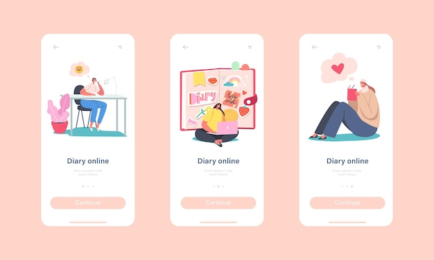 Online diary mobile app page szablon ekranu na pokładzie. drobne postacie kobiece w wielkim pamiętniku, pisanie notatek, planowanie ofert