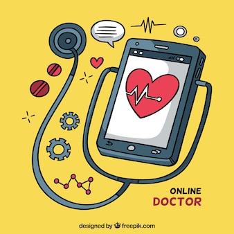 Online doktorski pojęcie z smartphone i stetoskopem