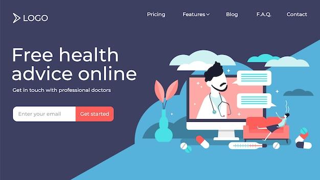 Online doktorskie malutkie osoby lądowania strony szablonu wektorowy ilustracyjny projekt