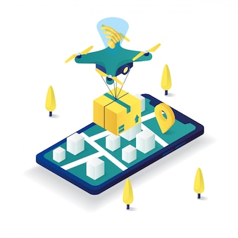 Online dostawa trutnia usługi płaskie 3d izometryczny ilustracja