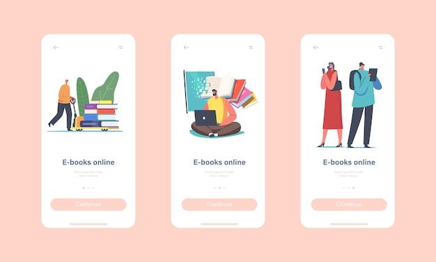 Online e-książki szablon ekranu aplikacji mobilnej na pokładzie. małe postacie z urządzeniami cyfrowymi czytające książki w internecie lub korzystające z programu application for gadgets concept. ilustracja wektorowa kreskówka ludzie
