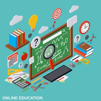Online edukacji płaskie 3d izometryczny wektor ilustracja