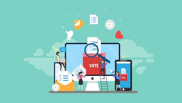 Online głosuje malutkich ludzi charakteru pojęcia wektoru ilustraci