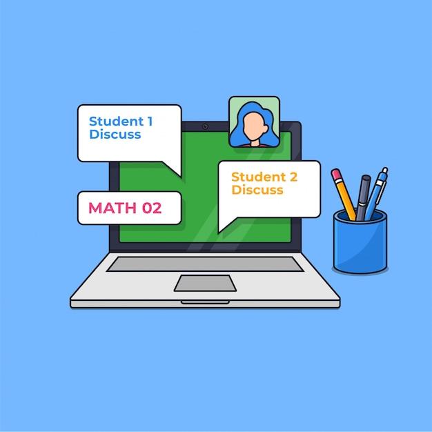 Online klasy cyfrowej nauki nowoczesnej edukacji na ilustracji wektorowych zarys ekranu laptopa
