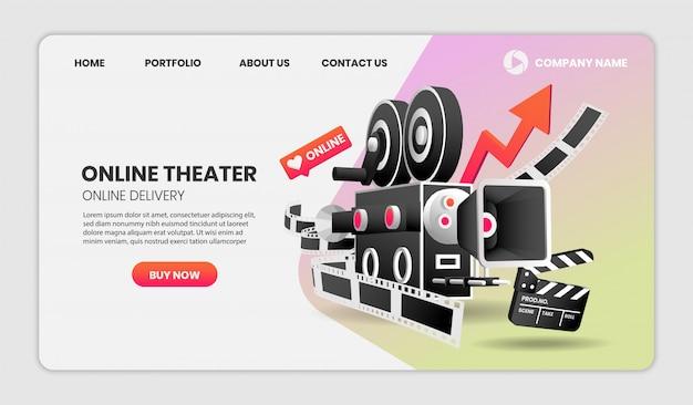 Online koncepcja usługi kina ilustracja. z kolorowymi elementami.