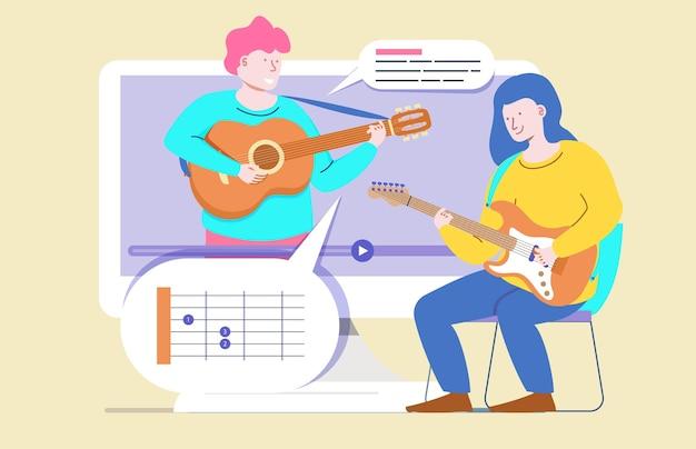 Online kurs gry na gitarze koncepcja lekcji muzyki nauka na odległość z domu nauka online edukacja kreskówka