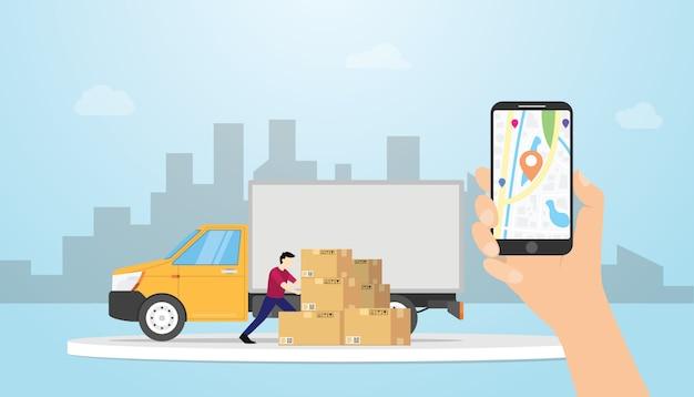 Online ładunek doręczeniowy system śledzenia z ciężarówki i gps pozycjonuje lokacje z ręka chwyta smartphone - wektor