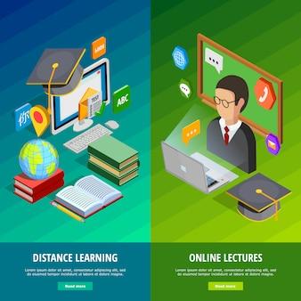 Online learning zestaw pionowych banerów