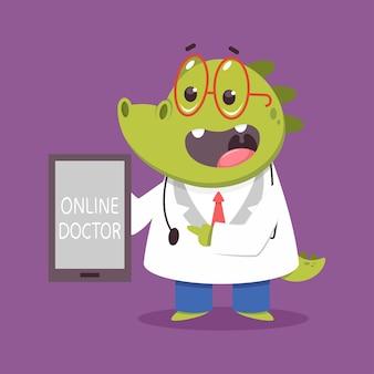 Online lekarz dla dzieci krokodyl zabawny medyczny charakter na białym tle na tle.