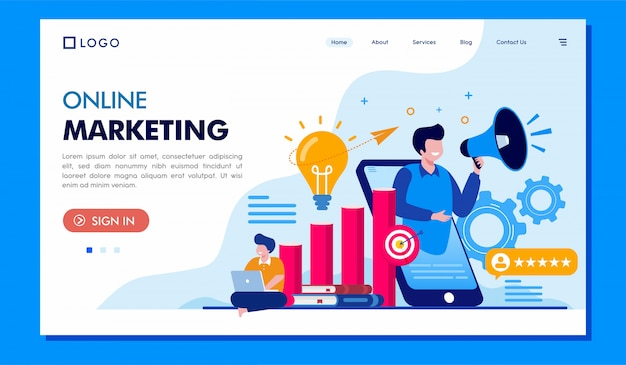 Online marketingowa strona docelowa ilustracji witryny