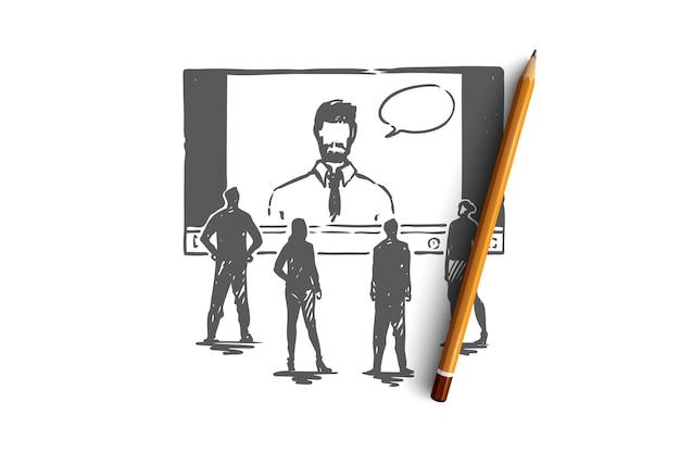 Online, nauka, system, sieć, koncepcja szkolenia. ręcznie rysowany ekran ze szkicem koncepcyjnym webinarium i słuchaczy. ilustracja.