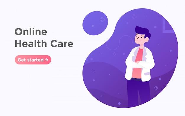 Online opieki zdrowotnej lekarza strony docelowej ilustracji