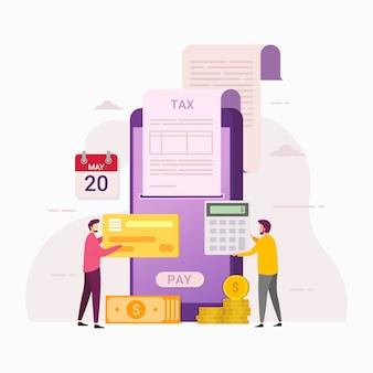 Online płatnicza podatek usługa z telefonami komórkowymi ilustracyjnymi