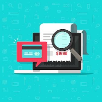Online płatnicza rewizja analizuje lub płaci rachunku badanie na laptop ilustracyjnej płaskiej kreskówce