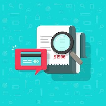 Online płatnicza rewizja analizuje lub wystawia rachunek płatniczej badawczej ilustracyjną płaską kreskówkę