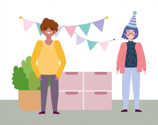 Online przyjęcie, urodziny lub spotkanie z przyjaciółmi, mężczyzną i kobietą w domu proporczyki dekoracje świąteczne świąteczna ilustracja