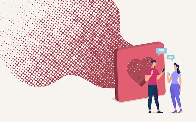 Online randki usługa telefonu komórkowego app wektoru pojęcie